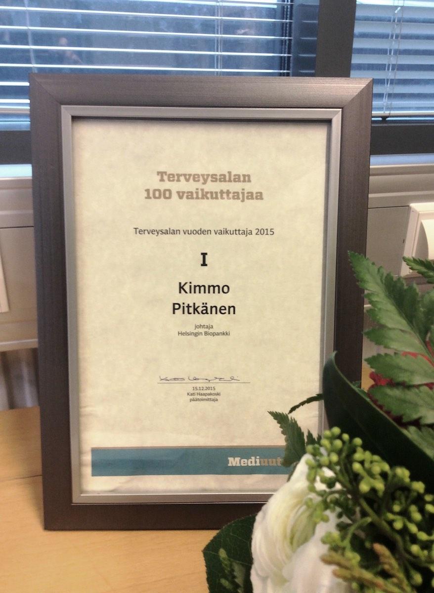 Kimmo Pitkänen on terveysalan vuoden vaikuttaja 2015.